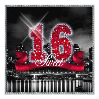 Stadt beleuchtet 16. Geburtstag rotes ID242 Karte