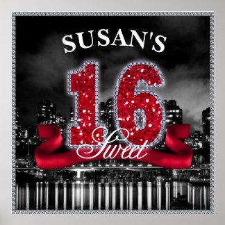 Stadt beleuchtet 16. Geburtstag rotes ID242 Poster