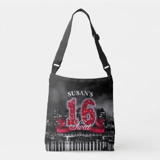 Stadt beleuchtet 16. Geburtstag rotes ID242 Tragetaschen Mit Langen Trägern