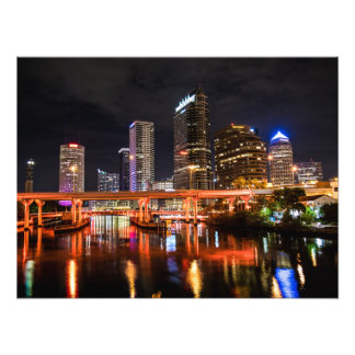 Stadt beleuchtet Skyline bis zum Nacht Fotodruck