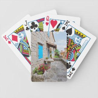Stadt der alten cobbled Straßenansicht des Summens Bicycle Spielkarten