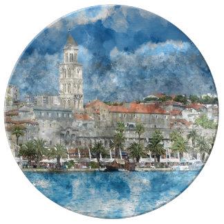 Stadt der Spalte in Kroatien Porzellanteller
