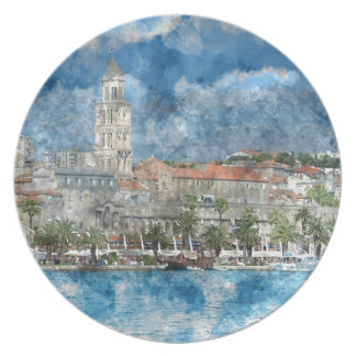 Stadt der Spalte in Kroatien Teller