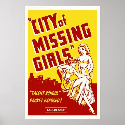 """""""Stadt der vermissten Mädchen"""" Vintages Film-Plaka Plakatdrucke"""