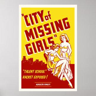 """""""Stadt der vermissten Mädchen"""" Vintages Poster"""