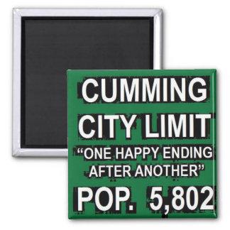 Stadt-Grenze-Zeichen Cumming-Georgia lustiges Quadratischer Magnet