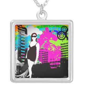 Stadt-lebender städtisches Mädchen-kundengerechter Halskette Mit Quadratischem Anhänger