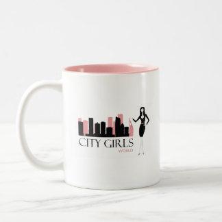 Stadt-Mädchen-Weltkaffee-Tasse Zweifarbige Tasse