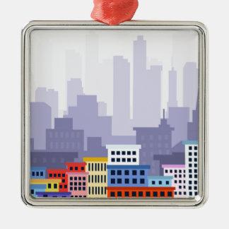 Stadt Quadratisches Silberfarbenes Ornament