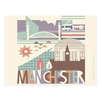 Stadt Scape Manchester und die Nordwestpostkarte Postkarten