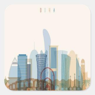 Stadt-Skyline Dohas, Qatar   Quadratischer Aufkleber