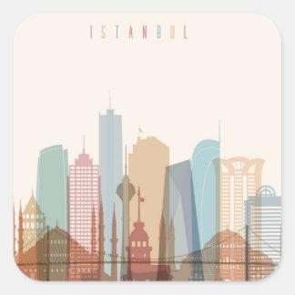 Stadt-Skyline Istanbuls, die Türkei | Quadratischer Aufkleber
