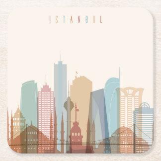 Stadt-Skyline Istanbuls, die Türkei | Rechteckiger Pappuntersetzer