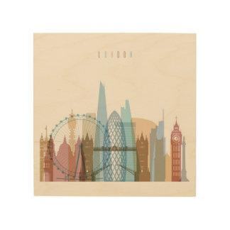 Stadt-Skyline Londons, England | Holzdruck