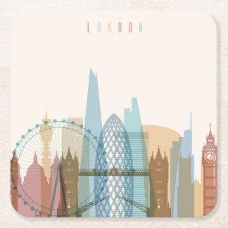 Stadt-Skyline Londons, England | Rechteckiger Pappuntersetzer