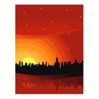 Stadt-Skyline-Sonnenuntergang Postkarte