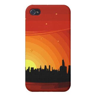 Stadt-Skyline-Sonnenuntergang Schutzhülle Fürs iPhone 4