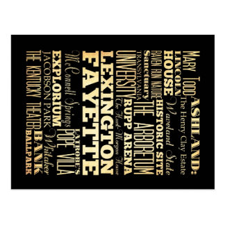 Stadt-Staats-Typografie Lexingtons Fayette Kentucy Postkarte