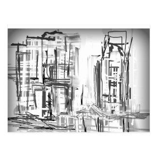 Stadt, städtisches Schwarzweiss Postkarte