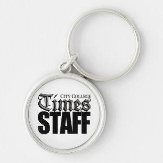Stadt-Uni setzt Zeit keychain fest Silberfarbener Runder Schlüsselanhänger