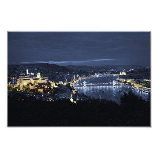 Stadt von Budapest (Ungarn) am NachtFoto-Druck Kunstfotos