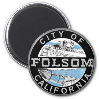 Stadt von Folsom, Kalifornien-Grafiklogo Runder Magnet 5,7 Cm