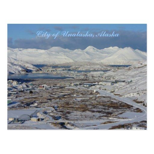 Stadt von Unalaska im Winter, Unalaska Insel Postkarten