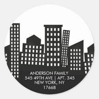 STADT-WOHNUNG | neuer Zuhause-Adressen-Aufkleber Runder Aufkleber