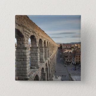 Stadtansicht über Piazza Azoguejo u. EL Acueducto Quadratischer Button 5,1 Cm
