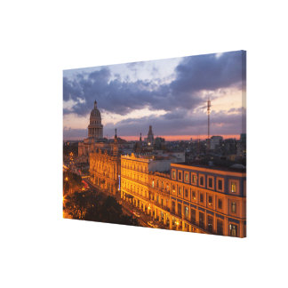 Stadtbild am Sonnenuntergang, Havana, Kuba Leinwanddruck