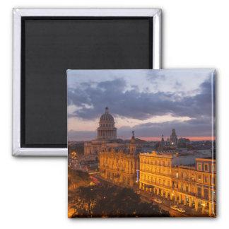 Stadtbild am Sonnenuntergang, Havana, Kuba Quadratischer Magnet