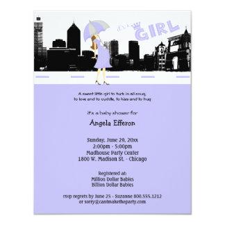Stadtbild-Lavendel und graue Babyparty-Einladung Karte