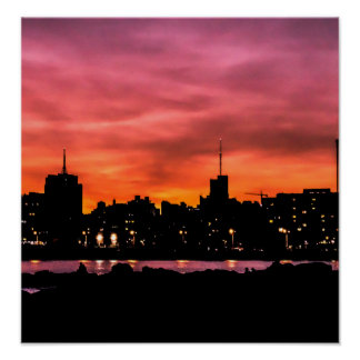 Stadtbild-Sonnenuntergang-Szene, Montevideo, Poster