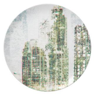 Stadtbild und Wald Teller