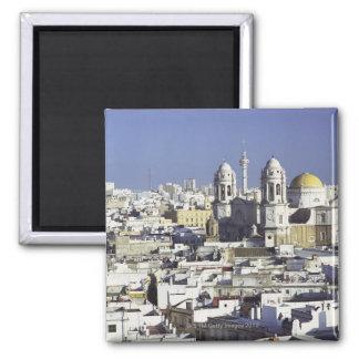 Stadtbild von Cadiz, Spanien Quadratischer Magnet