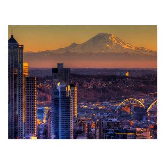 Stadtbildansicht von Seattle im Stadtzentrum Postkarte