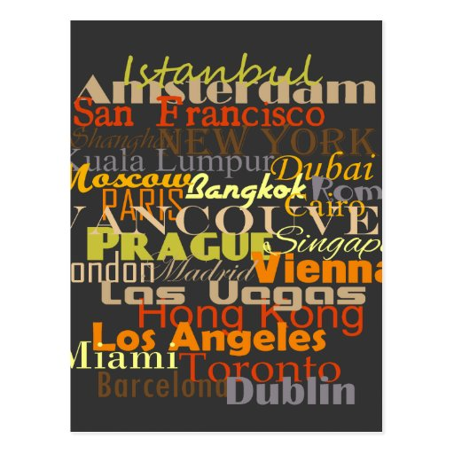 Städte auf der ganzen Welt Postkarten