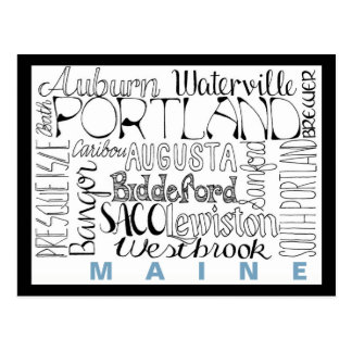 Städte in Maine Postkarte