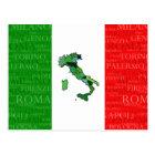Städte, Karte und Flagge von Italien