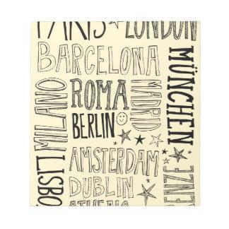 Städte Typografie-Stadt-Geschenke Europas der Notizblock