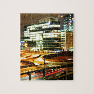 Städtische Landschaft nachts in Oslo, Norwegen Puzzle