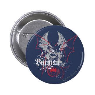 Städtische Legenden Batmans - Flügel rot auf Blau Runder Button 5,1 Cm