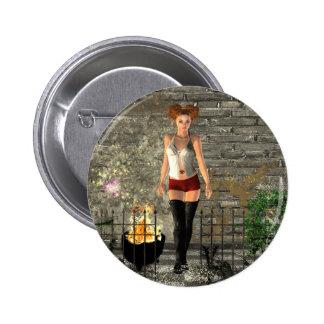 Städtische magische Fantasie der gotischen Mädchen Button