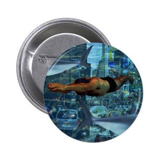 Städtische Schwimmer Runder Button 5,7 Cm