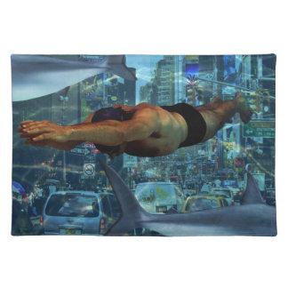 Städtische Schwimmer Stofftischset