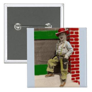 städtischer Cowboy Quadratischer Button 5,1 Cm