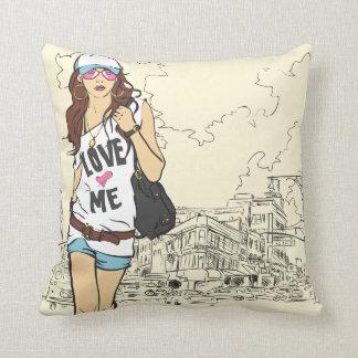 Städtisches Mädchen-Amerikaner MoJo Kissen