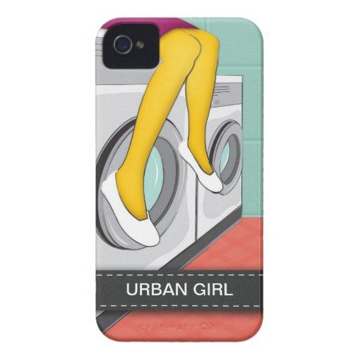 Städtisches Mädchen, das in einer Wäscherei in der iPhone 4 Case-Mate Hüllen