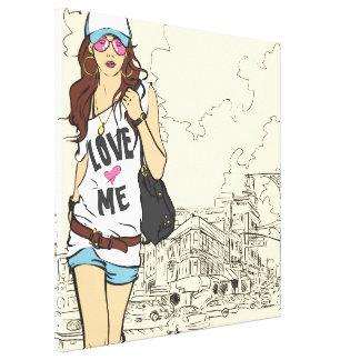 Städtisches Mädchen eingewickelte Leinwand Galerie Faltleinwand