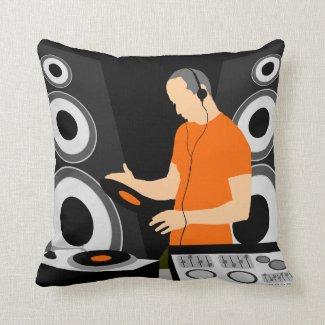 Städtisches spinnendes Vinyl DJ an den Plattformen Zierkissen